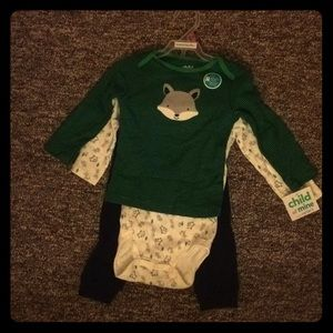 Carters child of mine green 3 piece fox set